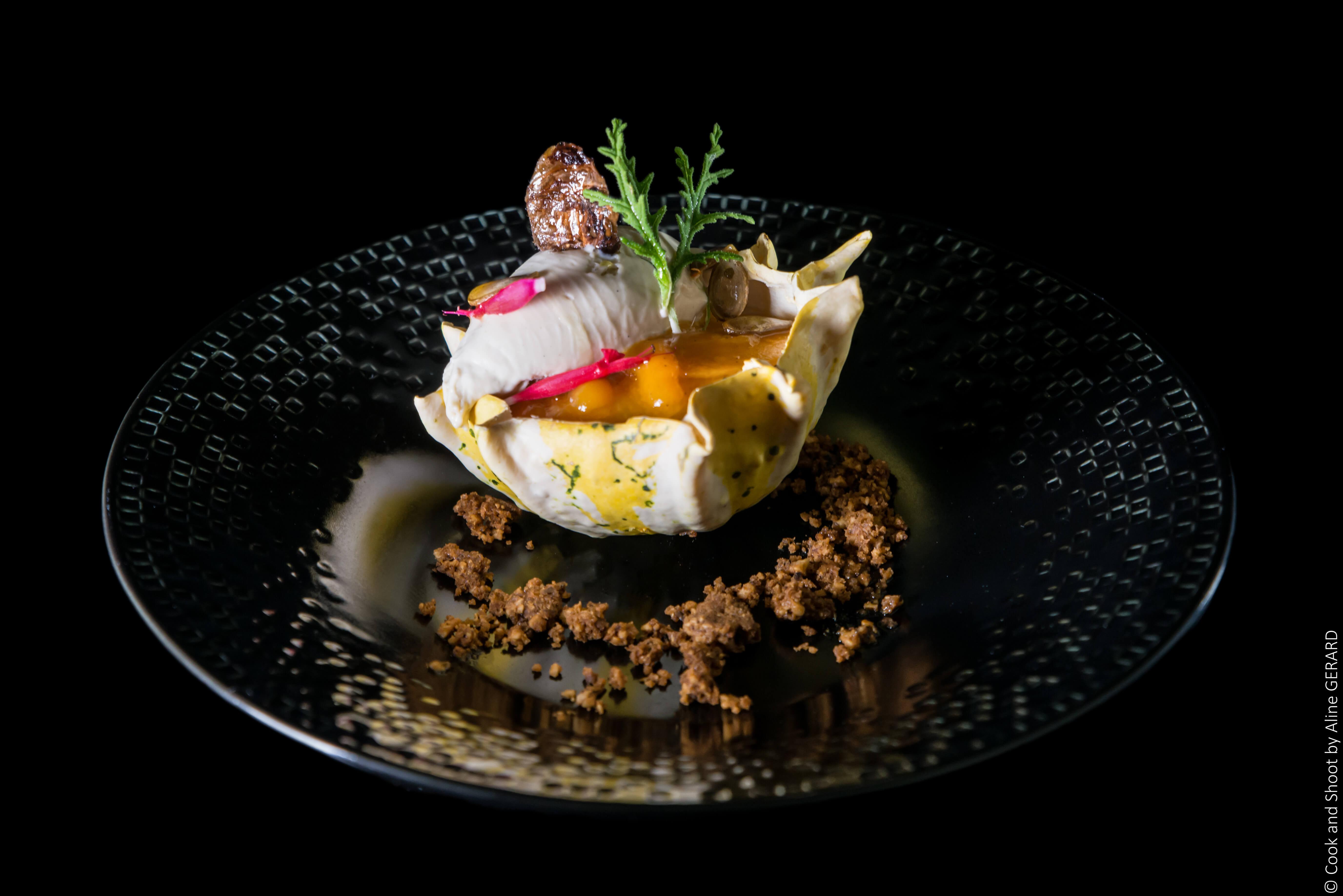 Dessert à l'assiette courge-géranium by Vincent Catala Chef Pâtisser & Cuisnier/French Private Cuisine & Pastry Chef - Catering in Miami